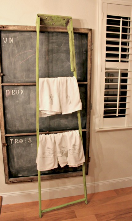 Tall Gree Ladder with towels redouxinteriors