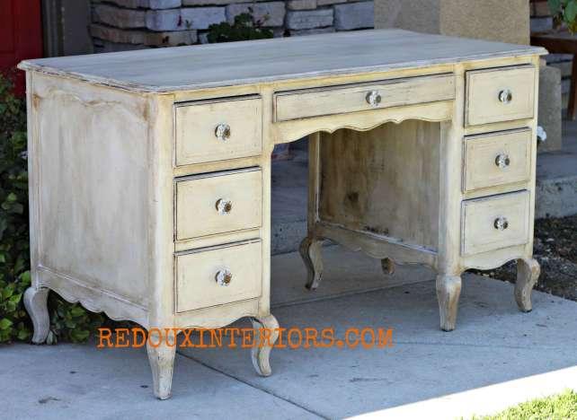 French Glazed Desk Angled redouxinteriors