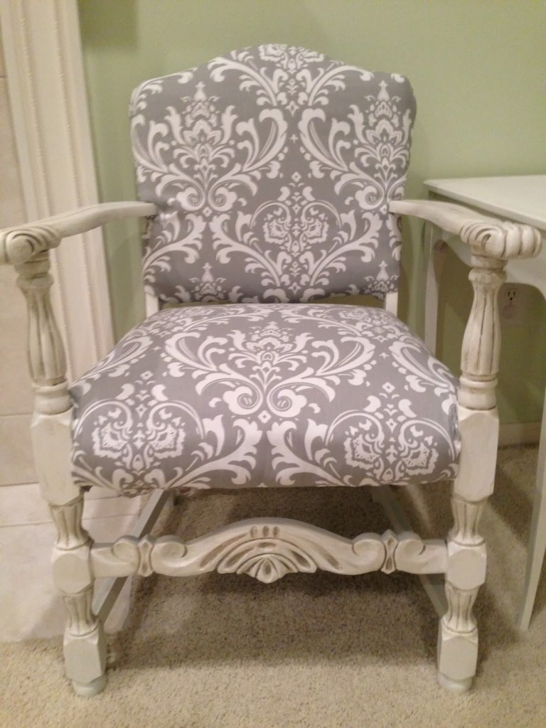 Grey Upholstered Chair makeover