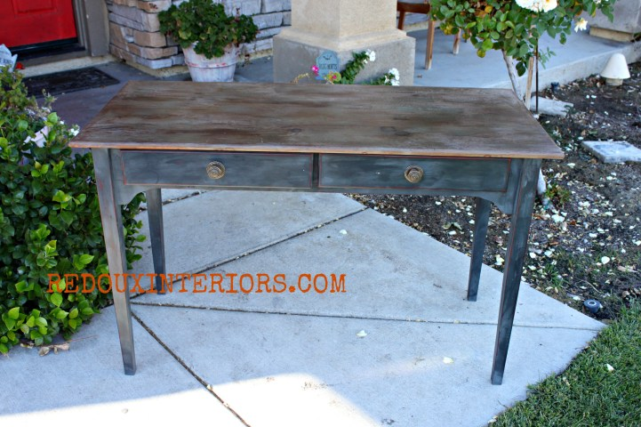 Pickled Top Desk with Cece Caldwell Vermont Slate Redouxinteriors