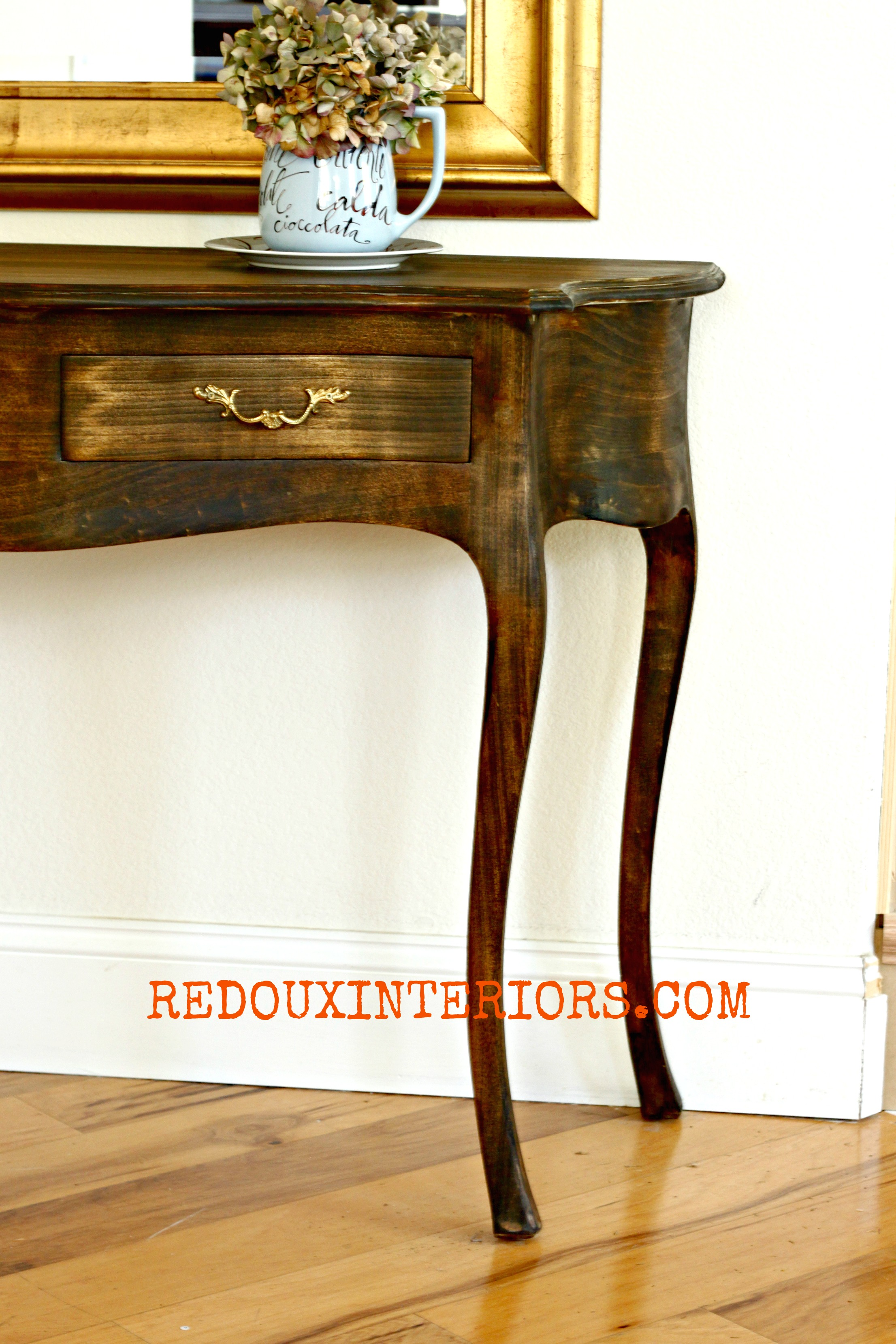 dark walnut stained entry table  how to get the stain to stick