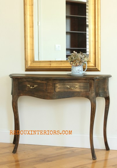 Stained entry table redouxinteriors