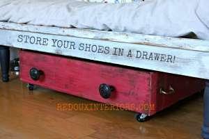Drawer Turned Shoe Storage
