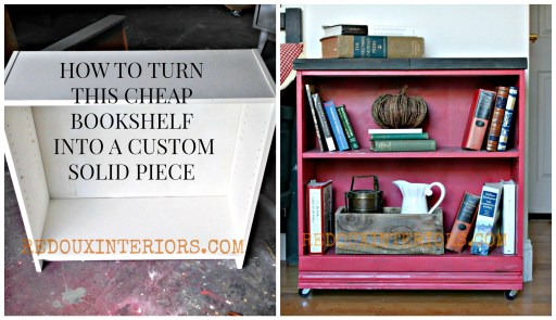 before and after bookshelf makeover