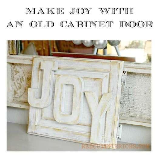 Joy Sign with old cabinet door redouxinteriors