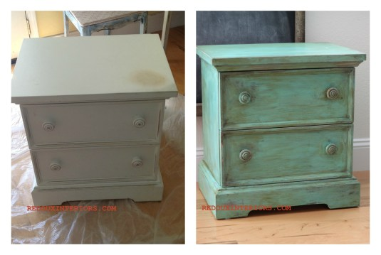 Nighstand with Glaze and Aging Dust Before After Redouxinteriors