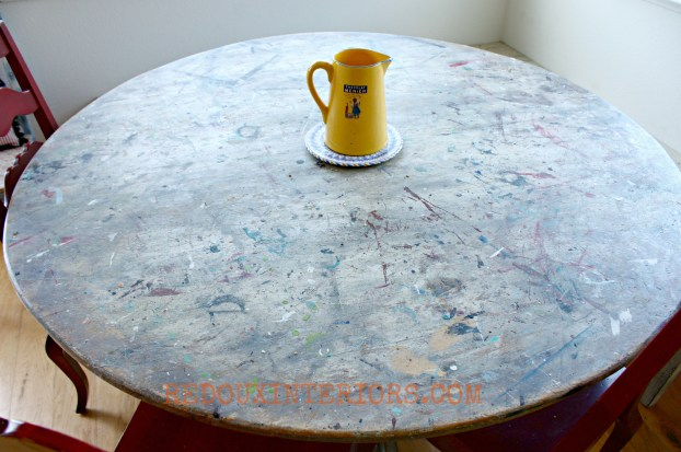 Kitchen Table Splattered with paint Redouxinteriors - Copy