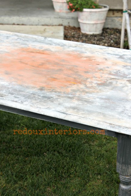 Farm Table with faux rusted top redouxinteriors