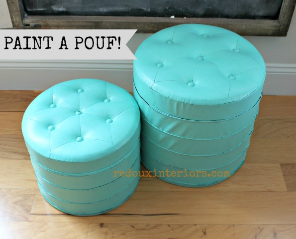 Santa Fe Turquoise painted Pouf Redouxinteriors