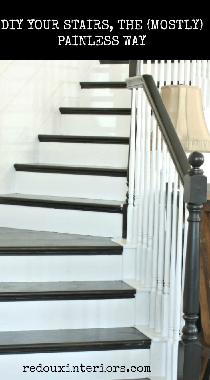 Great Black And White Stairs DIY With DIY Paint