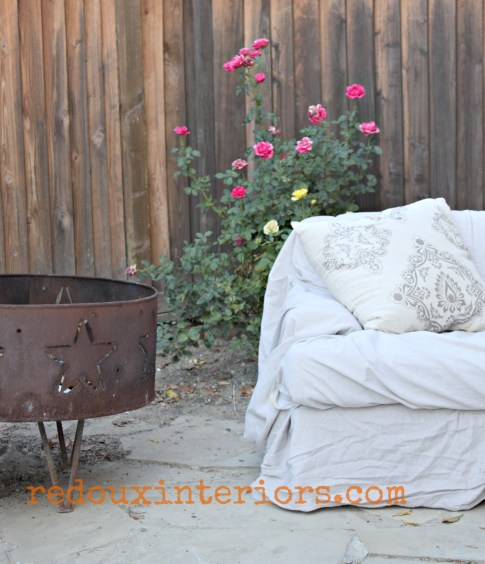 outdoor couch firepit and roses redouxinteriors