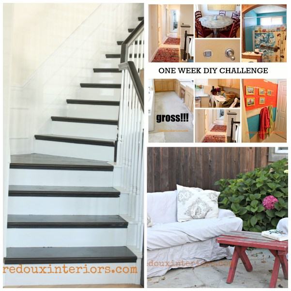 One week DIY challenge black and white stairs outdoor couch redouxinteriors