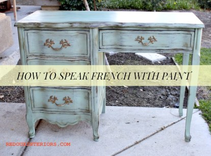 French Style desk in Alaska Tundra Green redouxinteriors