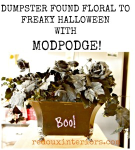 Dumpster Floral Makeover For Halloween with Mod Podge
