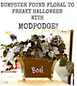 Dumpster Floral Makeover For Halloween with Mod Podge