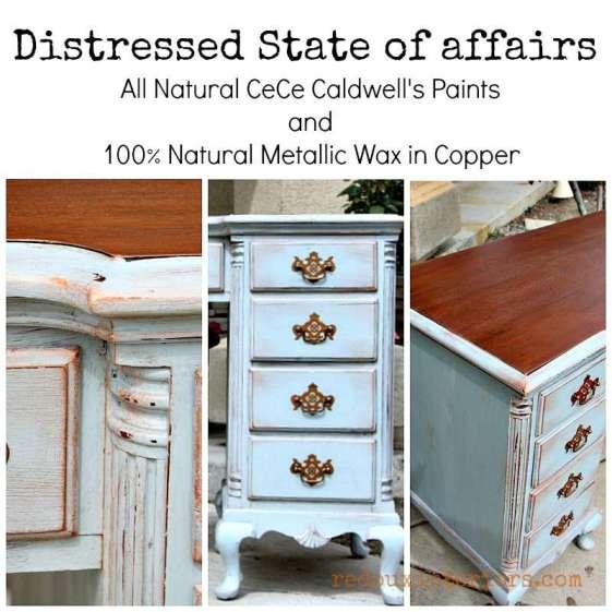 Distressed Desk Redouxinteriors CeCe Caldwell's metallic wax