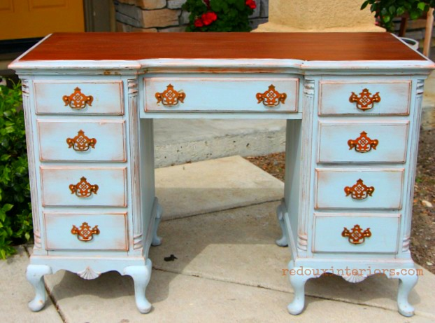 Distressed desk with cece caldwell's stain and natural metallic wax redouxinteriors