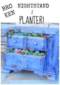 Nightstand Turned Planter Using CeCe Caldwell's Paints