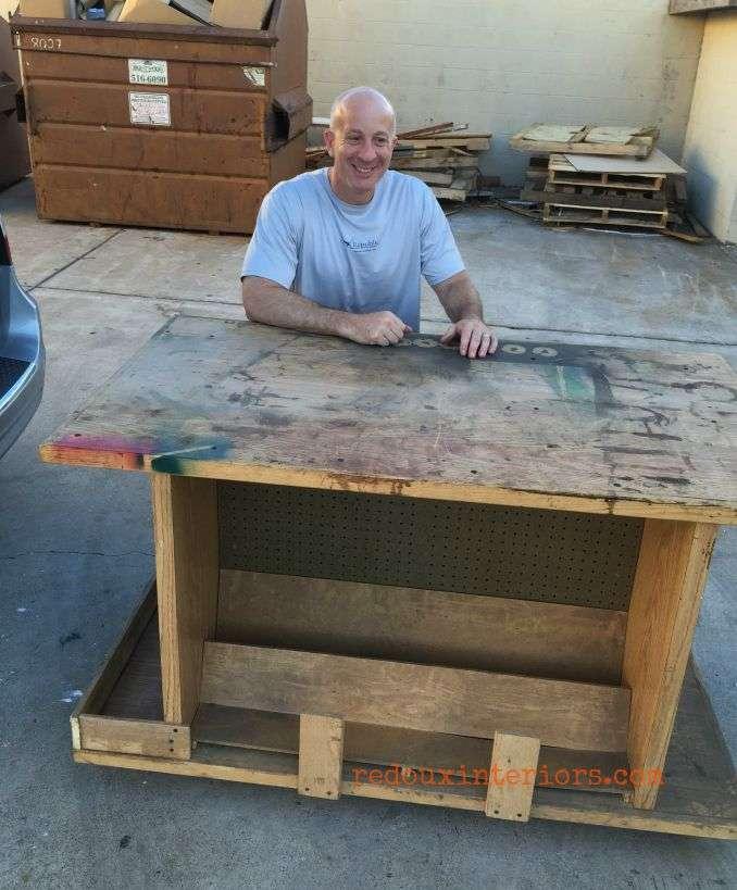 dumpster work bench suffering husband redouxinteriors
