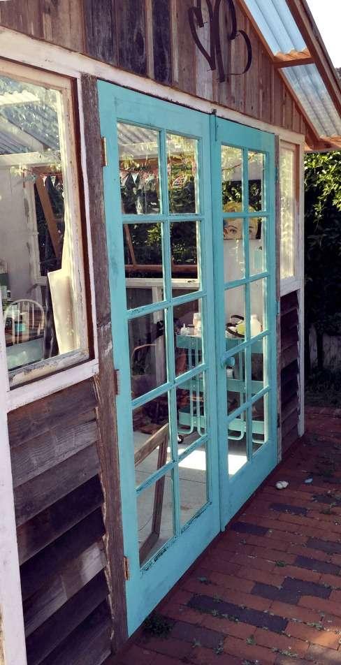 glitterfarm art shed doors cece santa fe turquoise redouxinteriors