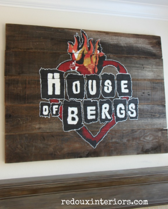 House of Bergs sign over mantle redouxinteriors