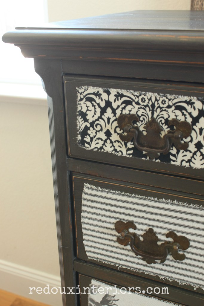Dresser with fabric decoupage corner redouxinteriors