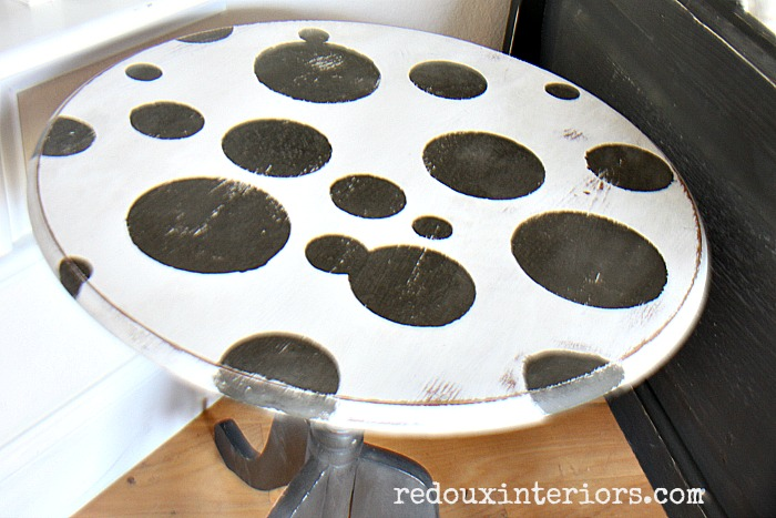 Junk Side Table polka dots DIY Paint Weathered wood redouxinteriors