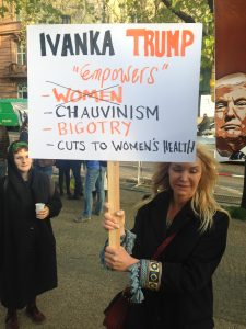 As Ivanka Trump spoke at a gala associated for the Women's Forum at the G20 in Berlin on April 25, protesters held a mock rally outside. Photo: Sarahmirk