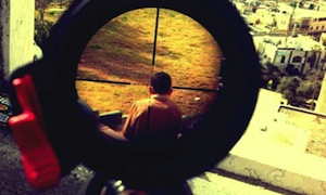 Israeli sniper's photo of the  head and back of a Palestinian boy in the sniper's crosshairs