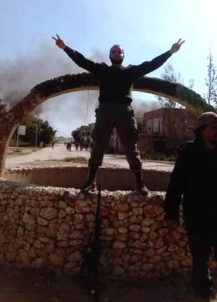 Libyan army soldier at Hijaz Street Roundabout, rejoicing at the defeat of the jihadist cutthroats