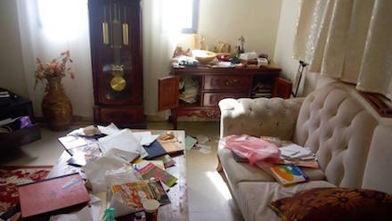 Amira Admon's ransacked home