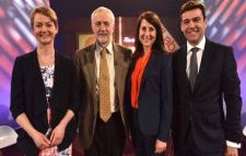 Corbyn with clowns to the left and jokers to the right