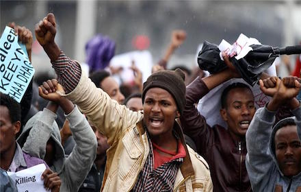 Protesters in Ethiopia