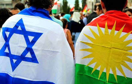 Israeli and Kurdish flags