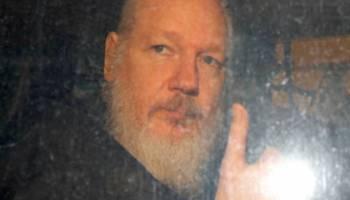 Julian Assange after leaving Ecuadorian embassy