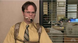 Dwight using his Camelbak, courtesy of michelleslomin.net