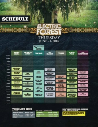 Electric Forest Thursday Schedule