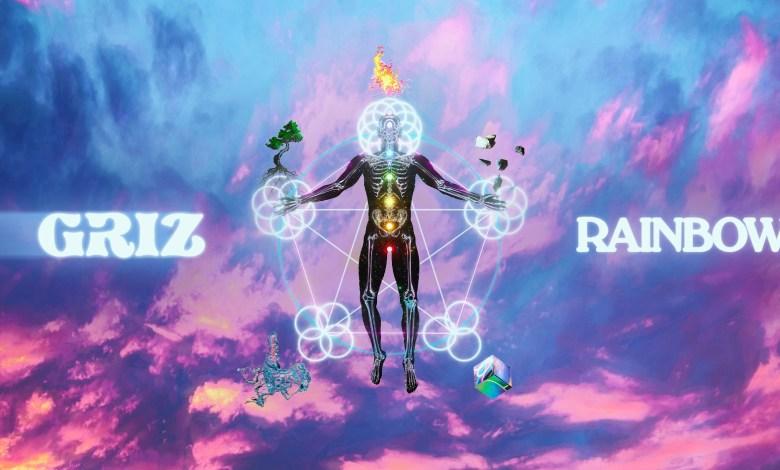 GRIZ Rainbow Brain text over a blue and purple sky