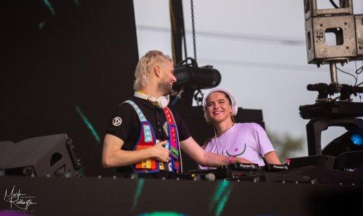 Sofi Tukker smiling at each other while performing at Spring Awakening Music Festival 2021