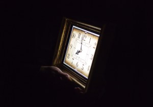 A mediatised clock, part of the performance of A Carriage(work).
