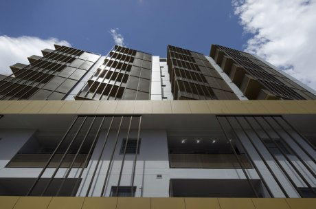 The distinctive screening for Redshift's Bankstown Apartments, viewed from Jacobs St.