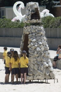 The void in the centre of the Cairn certainly attracted children, exploring inside and provoking curious exchanges.