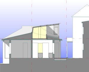 The cross section shows clearly the broad hallway of the second story, the low profile of the roof form and the newly created courtyard to the side of the house.