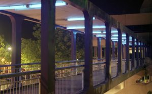 The lighting in the pedestrian footbridge and its new blue tint.