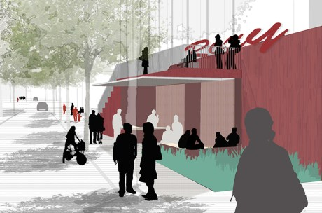 A new sculptural bar was developed to give the Roxy a greater engagement with the street, rather than a blank facade.