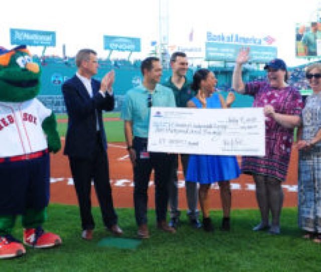 Vermont Center For Independent Living Receives The Vermont Day Impact Award Before The Game Against The Texas Rangers In Boston Massachusetts On Monday