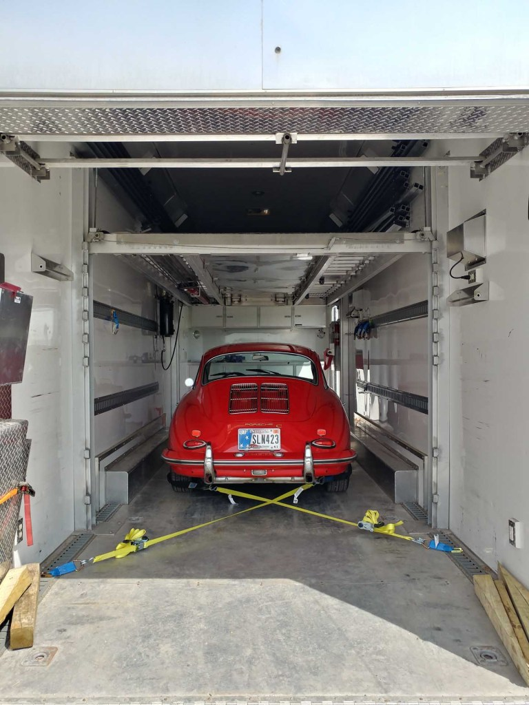 redstone porsche 356 restoration in trailer