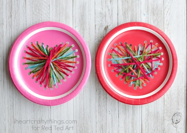 Paper Plate Heart Sewing Craft Red Ted Arts Blog
