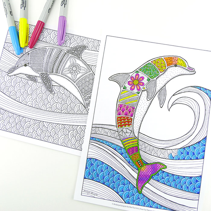 Free Colouring Pages For Grown Ups Dolphins Red Ted