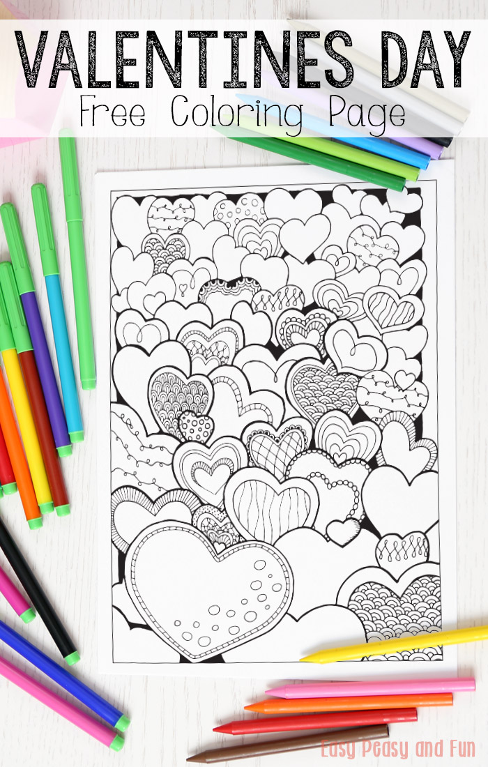 Field Of Hearts Valentines Day Coloring Page For Adults
